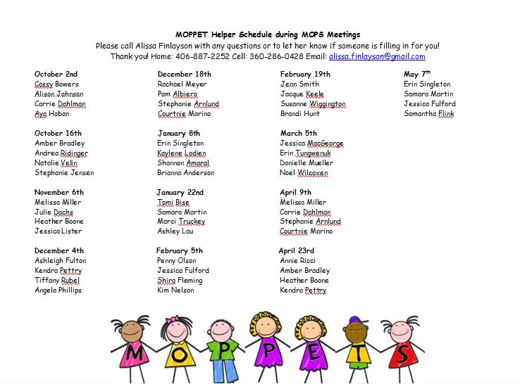 Moppet Helper Schedule